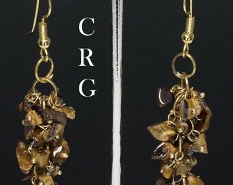 Gold Plated Tiger Eye Grape Cluster Earrings (GC13DG)