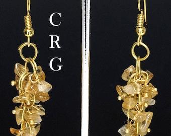 Gold Plated Citrine Grape Cluster Earrings (GC21DG)