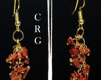 Gold Plated Goldstone Grape Cluster Earrings (GC5DG)
