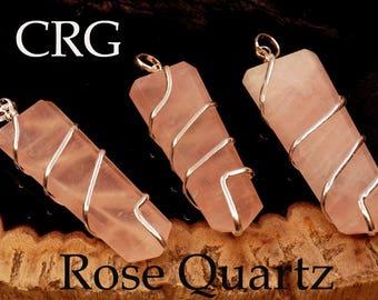 Rose Quartz Flat Point In Silver Spiral Pendant (SF8DG)