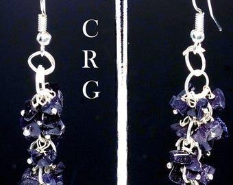 Silver Plated Blue Goldstone Grape Cluster Earrings (GC10DG)
