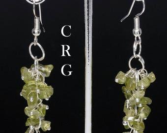 Silver Plated Peridot Grape Cluster Earrings (GC15DG)