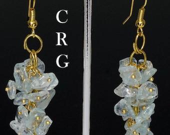 Gold Plated Blue Topaz Grape Cluster Earrings (GC26DG)