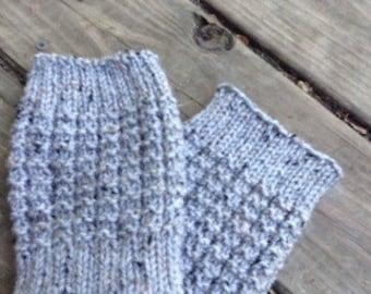 Knit Boot Cuffs -  Gray Knit Boot Cuffs - Handmade Boot Cuffs - Boot Socks - Boot Toppers - Women's Accessories