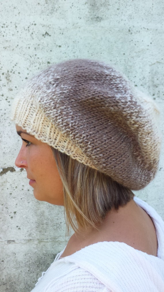 883d44cd641 Brown and Cream Slouchy Hat Brown Slouchy Beanie Knit Hat