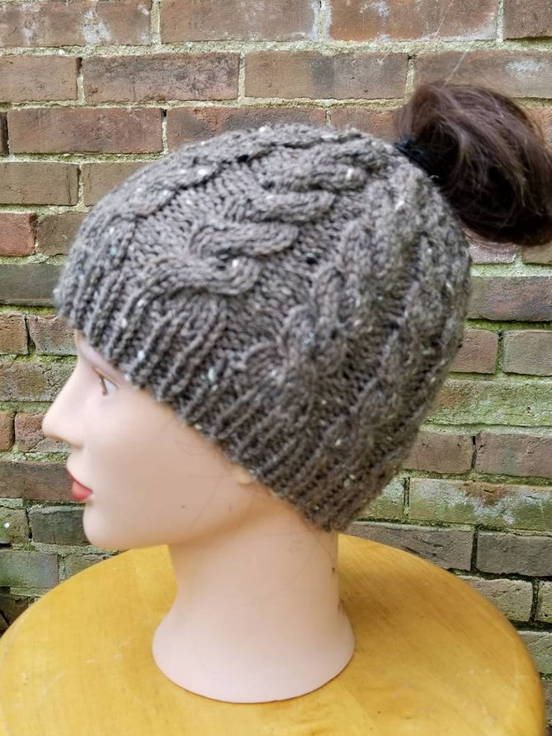 759f8f03f6c67 Janet Knit Brown Ponytail Hat Brown Ponytail Cable Knit Hat