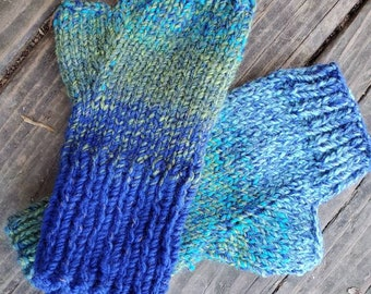 Outlander Inspired  Knit Fingerless Gloves - Blue and Gre Fingerless Gloves- Fingerless Mittens -  - Women's Accessories - Gloves -