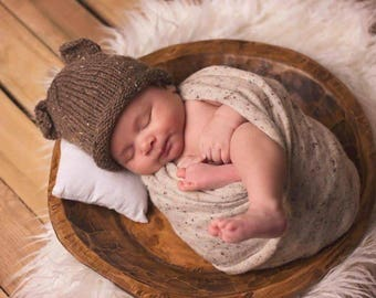 Newborn Baby Brown Bear Hat - Animal Ear Baby Hats - Hand Knit Baby Hats - Infant Baby Hats - Newborn Baby Hat - Bear Beanie - Baby Gift