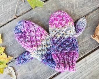 Purple Knit Mittens - Hand Knit Mittens - Mittens - Women's Accessories