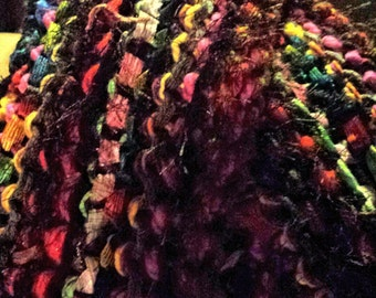 Tie Dye Hand Knit Scarf - Knit Art Scarf - Multicolor Scarf - Women's Scarves -  - Fringe Scarf - Funky Fringy Scarf