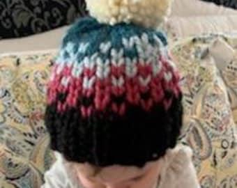 Kids Knit Hat - Pom Pom Hat - Pink Baby Beanie - Child Bobble Hat - Baby Ski Hat -  Toddler Hat - Kid Beanie - Kids Hat - Pom Pom