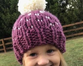 Child Knit Hat - Purple Fair Isle Hat - Pom Pom Hat - Baby Beanie - Child Bobble Hat - Baby Ski Hat -  Toddler Hat - Kid Beanie - Kids Hat