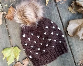 Kids Knit Hat Beanie, Unisex Knit Beanie, Brown Knit Hat, Fair Isle Hat, Fur Pom Pom