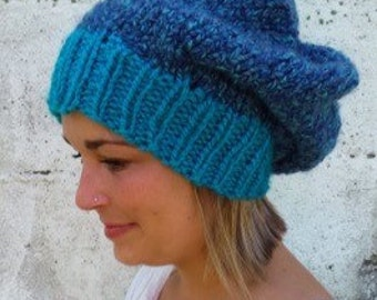 Turquoise and Purple Slouchy Hat -- Slouchy Beanie - Knit Hat - Women's Hat - Men's Hat - Winter Hat - Women's Accessories