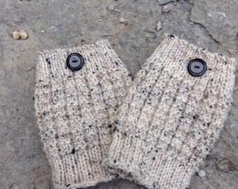Knit Boot Cuffs Oatmeal - Boot Toppers - Boot Socks - Leg Warmers