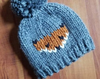 Child Knit Hat - Pom Pom Hat - Fox Baby Beanie - Fox Child Hat - Baby Ski Hat -  Toddler Hat - Kid Beanie - Kids Hat