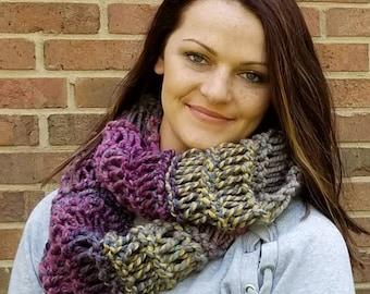 Knit Infinity Scarf - Purple Knit Circle Scarf - Infinity Scarf - Purple Knit Scarf