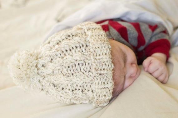 fd21f7c52b2 White Knit Baby Pom Pom Hat Off White Baby Beanie White