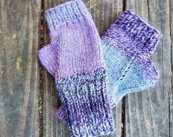 Outlander Inspired  Knit Fingerless Gloves - Purple Fingerless Gloves- Fingerless Mittens -  - Women's Accessories - Gloves -