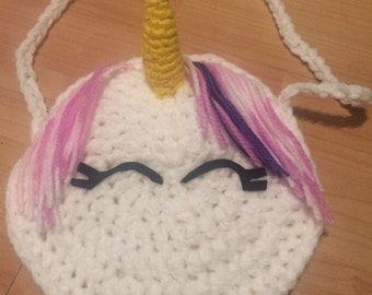 Crochet white unicorn kids childrens shoulder bag