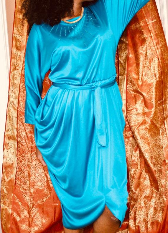 GORGEOUS Cobalt blue Disco Grecian draped goddess