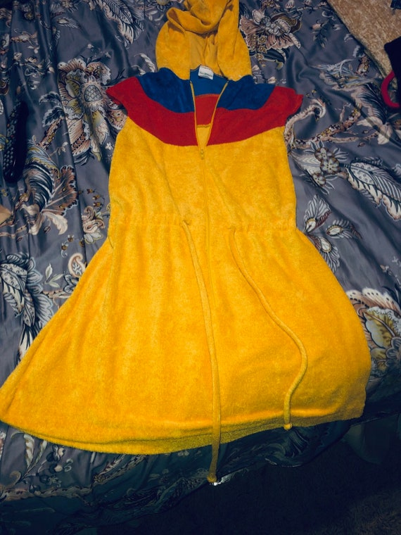Vintage 80s hooded terrycloth mini dress