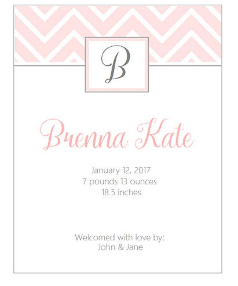 25 Chevron blush pink Birth announcement monogram birth announcement