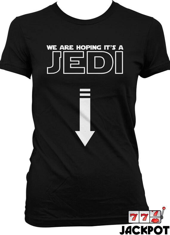 9b9d3e1631cd3e Lustige Schwangerschaft Shirt hoffen wir auf eine Jedi-T-Shirt-Geschenke  für werdende Mütter Schwangerschaft Ankündigung Mutterschaft T-Shirt Damen  MD-380B