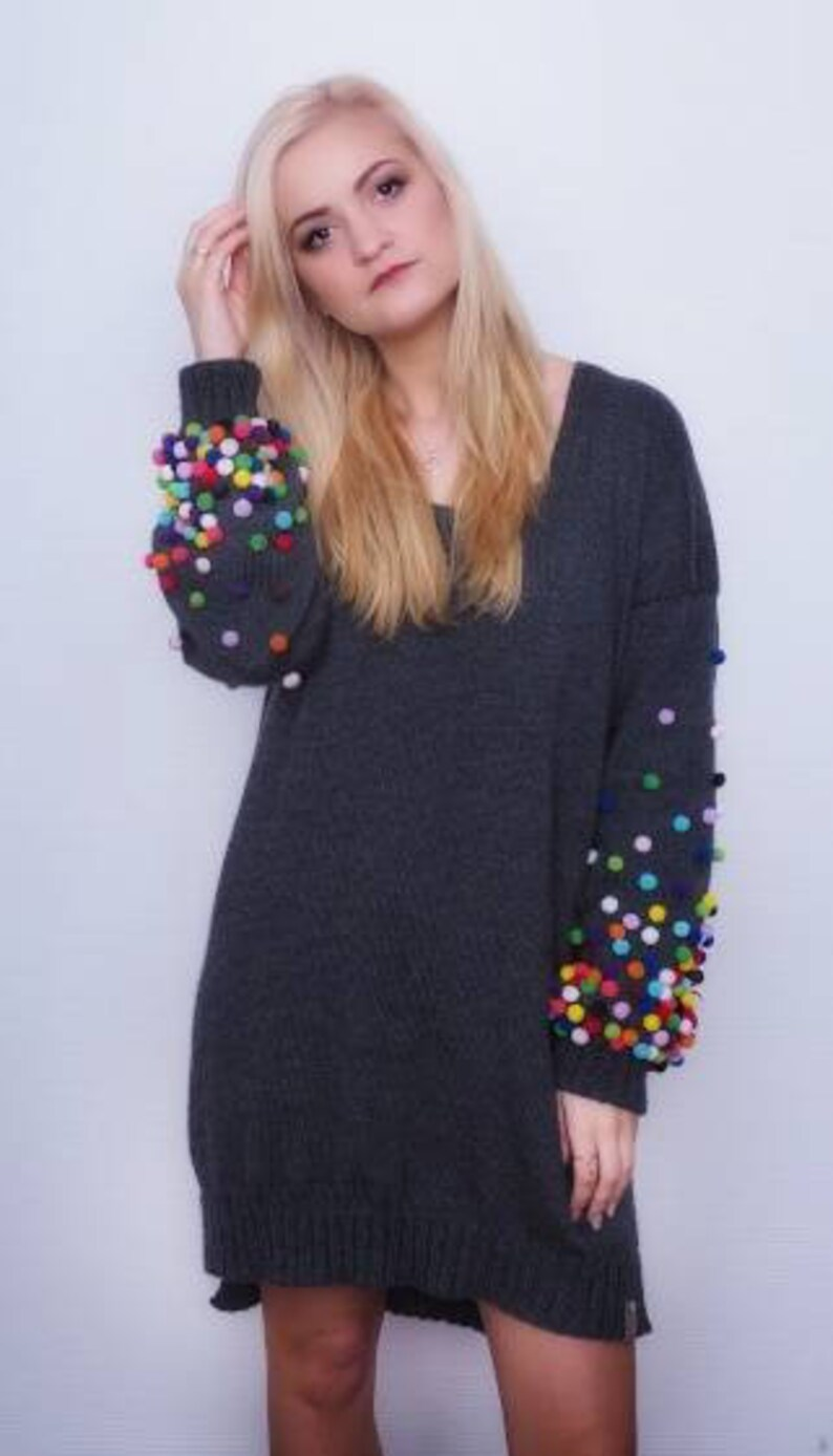 1aaa248a78a Knitted Natural Wool Grey Dress Long Bohemian Sweater