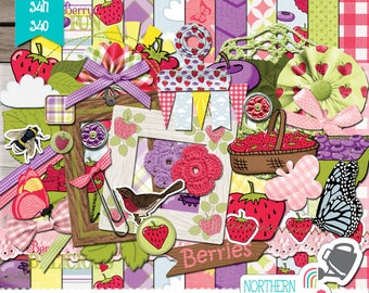 """Summer Scrapbook Kit - """"Berry Picking"""" - DIGITAL scrapbooking kit with raspberries, strawberries and blueberries for personal use, S4H & S4O"""
