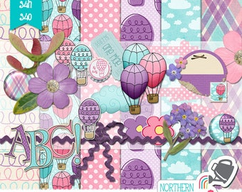 """Girls Digital Scrapbook Kit - """"Hot Air Balloons"""" - PERSONAL USE scrap kit in pink, purple, and aqua with flowers and balloons - PU/S4H/S4O"""
