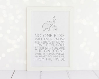 Elephant Nursery - No one else will ever know my love for you, what my heart sounds like from the inside - Framed A4 Quote Print - New Baby