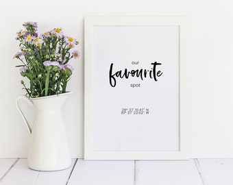 OUR FAVOURITE SPOT - Co-ordinates Print, Personalised Couple Print, Love Print - Framed A4 Print - Anniversary / New Home / Romantic Gift