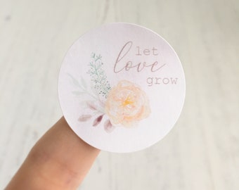 "WEDDING STICKERS - ""Let Love Grow"" OR Personalised Wedding Date and Initials - Wedding Favours, Flower Seeds Stickers, Favour Stickers"