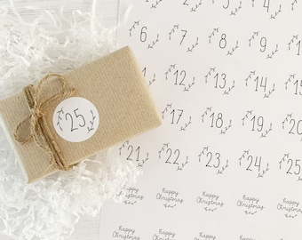 ADVENT STICKERS - Christmas Countdown Stickers - DIY Calendar Xmas Stickers - Christmas Advent Stationery, Make Your Own Advent Calendar