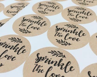 Sprinkle The Love - Wedding Stickers, Confetti Stickers // KRAFT STICKERS Circle, Round, Natural Wedding, Party Favour Stickers