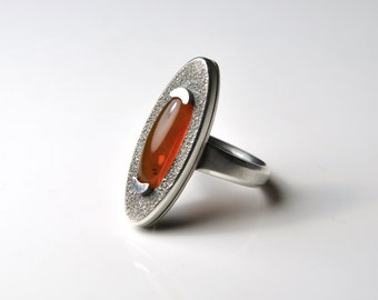 Silver Prong Set Oval Fire Opal Ring - Statement Ring - Sterling Silver Ring - American Fire Opal Ring