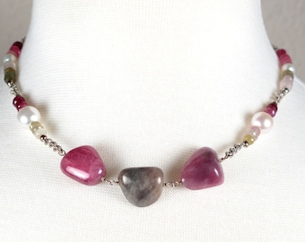 Tumbled Sapphires In Shades Of Rose and Green, White Luminous Pearls And Sterling Silver Necklace