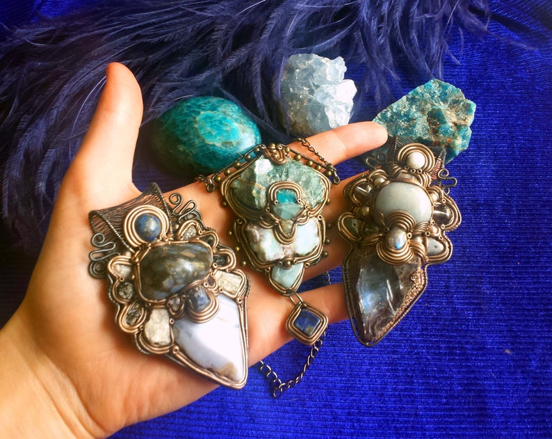 Blue Kyanite Angelite Raw Quartz ETC Spiritual Awakening;Blue Original Jewelry; Crystal Lover; Witchy Woman Labradorite Self-Reflection