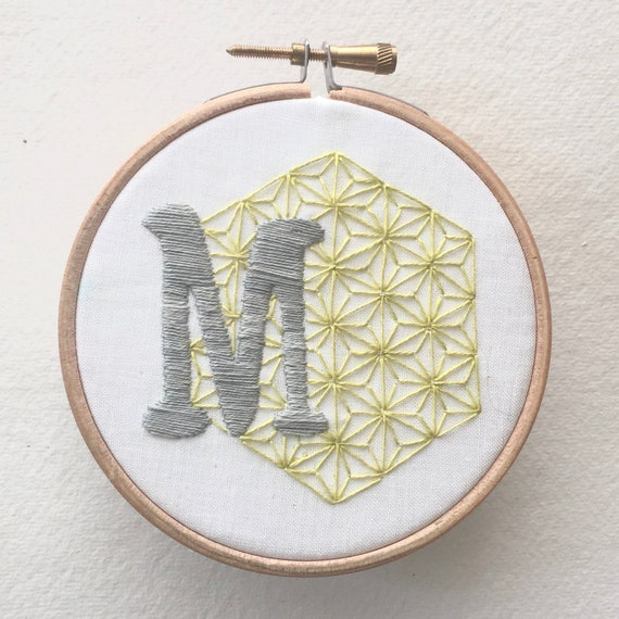 Geometric initial, hand embroidered monogram