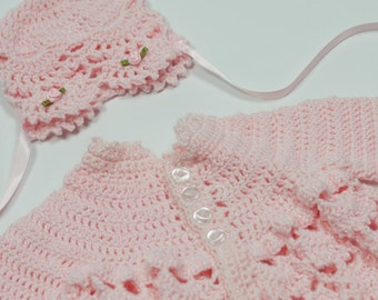 Baby girl sweater, pink baby sweater and hat