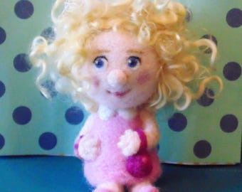 Needle Felted Girl in Pink