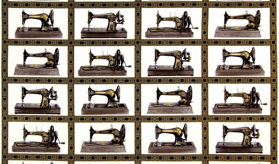 Sewing With Singer Fabric Panel Blocks Antique Sewing Machines Etsy Mesmerizing Vintage Sewing Machine Fabric