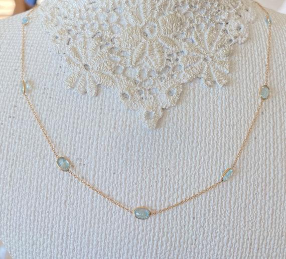 14k genuine aquamarine station necklace