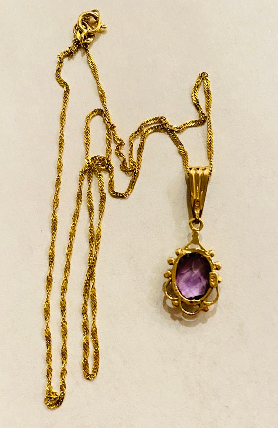 Vintage 14k yellow gold amethyst pendant - image 7