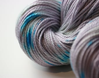 Lilac Splotch DK weight hand dyed pima cotton yarn