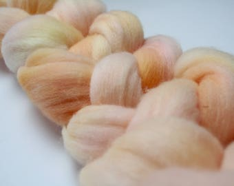 Fuzzy Peach Hand Dyed Merino Tops (Roving) Braid
