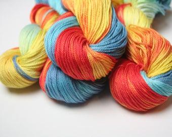 Macaw DK weight hand dyed pima cotton yarn