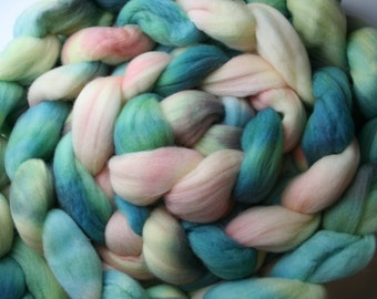 Delicate Pastels Hand Dyed Merino Tops (Roving) Braid