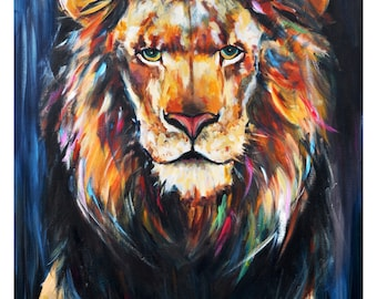 lion painting etsy